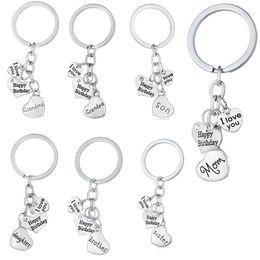 I Love You Dad Mon Grandma Grandpa Son Daughter Happy Birthday Keychain Key Rings Heart Charm Fashion Jewelry Gift Drop Shipping