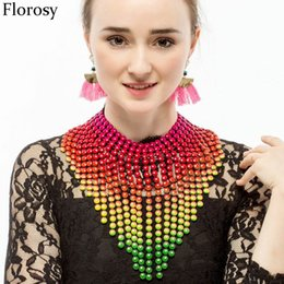 Wholesale Gold Tassel Necklace Sale - Wholesale- Hot Sale Jewelry 2017 Exaggerated Big Collar Small Beads Color Gold Chain Long Tassels Necklaces For Women Big Chunky Choker