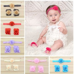 Wholesale Headbands Matching Shoes - Baby Hair Accessories Infant Kids Ribbon Satin Flower Headbands Foot Flower Matching Set Girls Sandals Barefoot Sandals Toddler Shoes