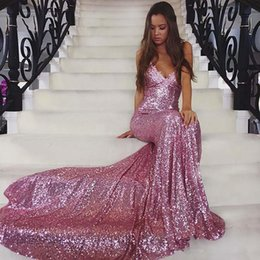 Wholesale Graduation Homecoming Dresses - Sparkling sequined long sweep mermaid prom dresses 2017 spaghetti straps applique criss cross backless formal evening gowns