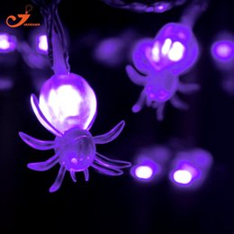 Wholesale Spider Light Bulbs - Wholesale- NEW 2017 Hallowmas Decor Spider Figure 10 LED String Lights Colorful Amber Bulb Lawn Garden House Night Light Battery Operated