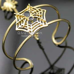 Wholesale Rare Black Spider Web Cobweb Chain Hand Harness Bracelet Bangle Cuff Ring W8