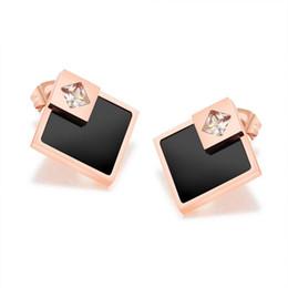 Wholesale Wedding Diamond Earings - New Fashion High Quality Wedding Bridal Sapphire Jewelry Diamond Earings For Women Gift Jewelry Geometry 18K Gold plated Copper Earings