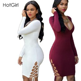 Wholesale Womens Dresses Vintage Cocktail - Womens Sexy Night Club Winter Long Sleeve White Bandage Bodycon Cotton Lace Up Criss Party Chiffon Black Cocktail Dress 2016 Dresses