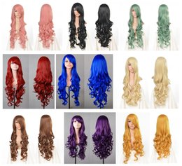 Wholesale Wavy White Cosplay Wig - 2017 Heat Resistant Fiber Wig Full Head Long Wavy Cosplay Wigs, Blue Black White Red Purple Orange Cosplay Synthetic Wig