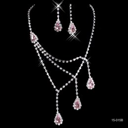 Wholesale Pink Bridal Earrings - Pink Rhinestone Bridal Jewelry Sets Earrings Necklace Crystal Bridal Prom Party Pageant Girls Wedding Accessories Free Shipping 15015B