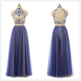 Wholesale Top Sexy Online - Modest Royal Blue Halter Top Prom Dresses Long 2016 Sheath Crystal 2 Piece Prom Dress Chiffon Special Occasion Pageant Evening Gowns Online