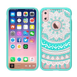 Wholesale Wholesale Clear Plastic Iphone Cases - Mandala Floral Lace Clear Design Printed Transparent Plastic Protective Back Phone Case Cover for Apple iphone X 10 Acrylic Back Cover