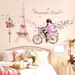 Wholesale Living Room Butterfly Decals - Flower Fairy Bicycle Butterfly Flower Tower Wall Sticker Girls Room Kids Nursery Wall Decals Home Decorations