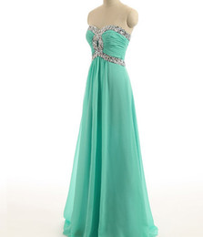 Wholesale Sweet Heart Chiffon Line - 2017 New Arrival Turquoise Prom Dresses Sweet heart collar Cheap Chiffon Bridesmaid Dresses Length Crystal bead Backless Evening Gowns