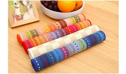 Wholesale Placemat Cotton Fabric - Wholesale- 45x30cm Europe Style Cotton Placemat Fabric Dining Table Mat Colorful Cup Coaster Heat Insulation Pad Table Decoration Pads