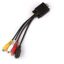 Wholesale Vga S Video Box - Television Signal VGA AV Cable 3 RCA S Video to VGA Adapter Converter