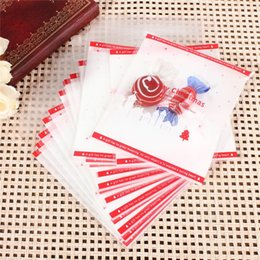Wholesale Red Cellophane Bags - Top Selling New Stylish 100PCS Merry Christmas Self Adhesive Xmas Tree Red Cellophane Party Candy Sweets Cookie Bag