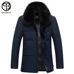 Wholesale Russian Business - Wholesale- 2016 Winter Jacket Thick Coat With Fur Collar Brand Mens Clothes Duck Down Warm Parkas Wellensteyn Business Style Russian Coat