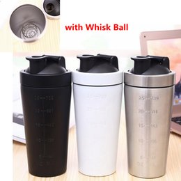 Wholesale Stainless Steel Protein Shakers - Protein Powder Shakes Bottle Stainless Steel Protein Powder Shaker Blender Water Bottle Gym Sport Drinking Water Bottles With Whisk Ball 140