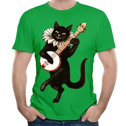 Wholesale High Fashion Music - New Fashion Cat Playing Music Printed Men'S T-shirts Short Sleeve Funny design High Quality T-Shirt Animal and Cartoon T-shirt