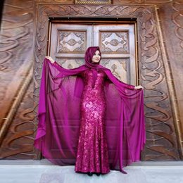 Wholesale Chiffon Dress Long Scarf - Muslim Style Purple Party Dress With Chiffon Wrap Jewel Long Sleeve Lace Applique Evening Dress Without Scarf Pretty Floor Length Prom Dress