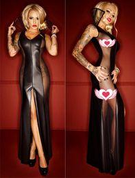 Wholesale Women S Transparent Dresses - Women Sexy Long Sheer Mesh Lingerie Erotic Transparent Gauze Dress Lace pvc Elegant Queen Nightdress Sleepwear 72015 one size S-L