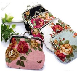 Wholesale Flower Girl Purses - Hot Women Cute Coin Purse Retro Vintage Flower Canvas Small Wallet Girls Change Pocket Pouch Hasp Keys Bag Metal Bar Opening New