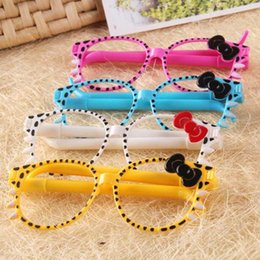 Wholesale Gift Student Prize - 20pcs lot Cartoon Cat Bow Glasses Ballpoint Pens New Cute Ball Point Pen Office School Stationery Fashion Gift Prize For Kid