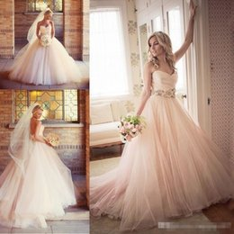 Wholesale Country Feathers - Charming Blush Pink Wedding Dresses 2018 Tulle Beaded Sash Flower Cheap A Line Sweetheart Sleeveless Country Bridal Dresses Ball Gowns