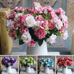Silk flower arrangements online-Austin Bunch 15 Heads Spring Silk Flowers Artificiale Rose Wedding Floral Decor Disposizione dei fiori