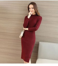 Wholesale Knee Length Sweaters - 2017 Autumn And Winter Knitted Dress Long Sweater Package Hip Skirt Knitted Sweater Knee-Length Long Skirt