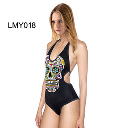 Wholesale Punk Swimsuit - Cool Funny Punk 3D Digital Print Skull Guts Skeleton Haraoh Tiger Tight Stretch One-piece Swimsuit Halter Bathing Suit Backless Swimwear