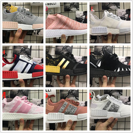 Wholesale Purple Sequin Shoes - 2017 Wholesale Discount Cheap White pink New NMD R2 PK Sneakers Sequins Women Men Real Boost sports shoes Running Training free shipping