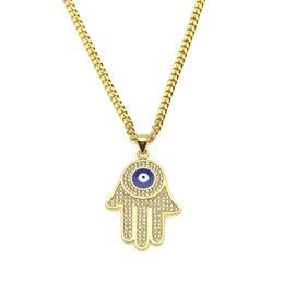 Wholesale Blue Sapphire Gold Necklace - New Blue Evil Eye pendant necklaces Hamsa Hand of Fatima Charm Long Cuban chains For women&men Hip Hop Fashion Jewelry