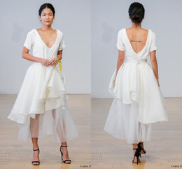 Wholesale Garden Casual Wedding Dress - Casual Simple Short Wedding Dresses A-Line with Short Sleeve V-Neck Satin Organza 2017 Cheap Country Wedding Bridal Gowns Tea Length Ivory