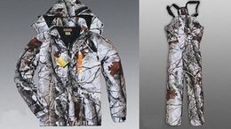 Wholesale Clothing Hunting Suit - Free Shipping Remington Realtree AP Snow Camo Hunting Jacket,Bibs Realtree APS Camouflage Jacket trousers,Camo Hunting Suit Fishing Clothing