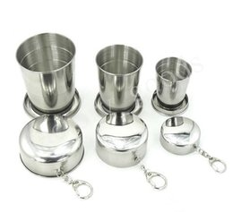 Wholesale Stainless Steel Retractable Keychain - Stainless Steel Telescopic Cup Portable Mini Travel Retractable Cups With Keychain Camping Water Bottle Car Vacuum cup Free DHL