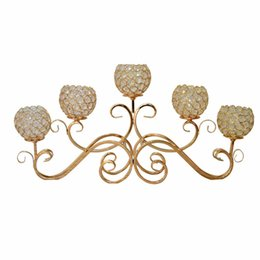 Wholesale Hotel Christmas Party Table Decoration - 5 Heads Metal Candle Holder Gold Silver Plated Candlestick Crystal Table Candelabras Home Hotel Wedding Centerpieces Decoration