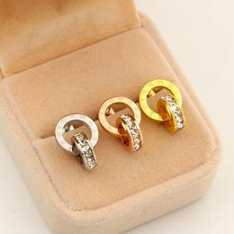 Wholesale Man Earrings Black - Free shipping 316L Stainless Steel love stud earrings with little crystal earrings for women men Couples fine jewlery wholesale