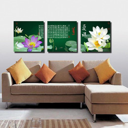 Wholesale Oil Painting Mountains Landscape - Free Shipping 3 Pieces unframed art picture Canvas Prints Lotus chinese characters poetry house tree mountain Chrysanthemum rose decorate