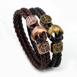 Wholesale Gold Peace Symbol Charm - Peace Symbol gold medal buckle leather bracelets for men Punk leather bracelet Anchor charm bracelets Fashion jewelry Hand Accessories
