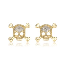 Wholesale High Quality Gold Hoop Earrings - Xuping Fashion 18K Gold Colour Earring Studs Skull Shape Inlay White Cublic Zircon High Quality Copper Jewelry Earrings for Gifts DH-9-29760