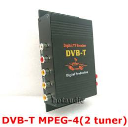 Wholesale Car Digital Tv Receivers - HD Car TV Tuner Mobile DVB-T MPEG-4 Digital TV Receiver Box With Dual antennas High Speed