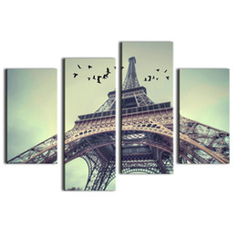 Wholesale Paris Art Canvas - Picture Sensations Huge 4-Panel Modern France Paris Eiffel Tower Giclee Canvas Art Landscape Painting Wall Art Painting on Canvas