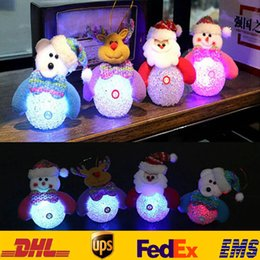 Wholesale Eva Party Supplies - Eva Crystal Christmas Santa Claus LED Lighted Flashing Snowman Ornaments Xmas Tree Hanging Home Party Festive Supplies Decor 10*12cm HH-T19