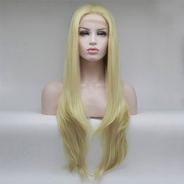Wholesale Platinum Long Wigs - K'ryssma Platinum Blonde Glueless Synthetic Hair Lace Wigs Long Natural Straight Tied Full Wig For Women Heat Friendly 16-26 free shippin