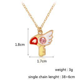 Wholesale Blossom Cards - Anime necklace Star sticks Cherry blossoms Bird head Kero Sakura card Kuluo card Pendants Gold chain Bijuterias Jewelry