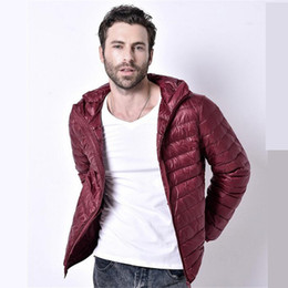 Wholesale Duck Down Feather Jacket - Fall-2016 Men Winter Coats Feather Jacket Men Ultralight Down Jackets Outdoors With A Hood Parka Homme