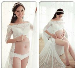 Wholesale Hot Dresses Pregnant Women - Hot Couple Pregnant Women Lace Dresses Maternity Photography Fancy Props Dresses Maternity Photo Shooting Crochet Lace Dresses