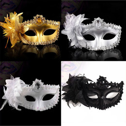 Wholesale Gold Masquerades - Fashion Women Sexy mask Hallowmas Venetian eye mask masquerade masks with flower feather Easter mask dance party holiday mask drop shipping