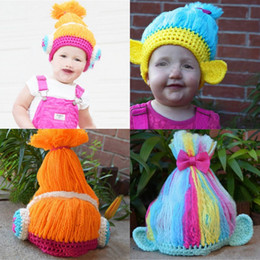 Wholesale Baby Girl Hats Wig - Halloween Gifts Cosplay Costume Trolls Poppy Handmade Wig Hats Baby Girls Boys Cartoon Knit Bow Wool Caps
