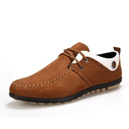 Wholesale Wholesale Driving Shoes - 2016 New Arrival Men Leather Loafers Moccasins Mixed Colors Slip-On Flats Casual Shoes Autumn Handmade Driving Shoes Big Size 39-44 J34