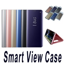 Wholesale Screen Holder - Holder Phone Case Electroplate Clear Smart Kickstand Mirror View Flip Cover Screen Protector For Sumsung A3 A5 A6 S6 S7 Edge Plus 2017 Note5