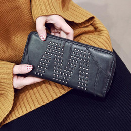 Wholesale Bags Korean Style Wholesaler Factory - factory brand package are large capacity rivet retro sheepskin sheepskin wallet registration card hand bag personality rivet Long Wallet